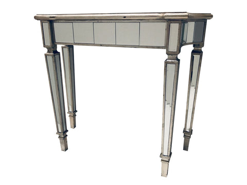Slim mirrored  console table  silver trim 125 last one