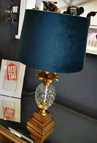 Pineapple table lamp with blue shade  71 cm