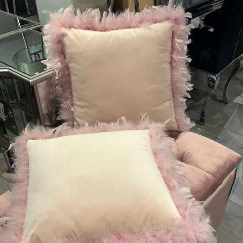 Value filled  with inner , Feather edge  Cushion Pink