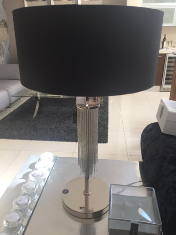 Langan table lamp in nickel with black shade