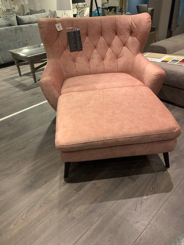 Voss top quality  Chaise /armchair bespoke in Pink Terra fabric ONE ONLY TO CLEAR