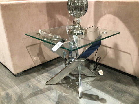 Kalmar Glass Rectangular Side lamp Table