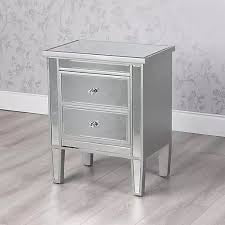 2 drawer mirrored bedside cabinet 60cm Rex