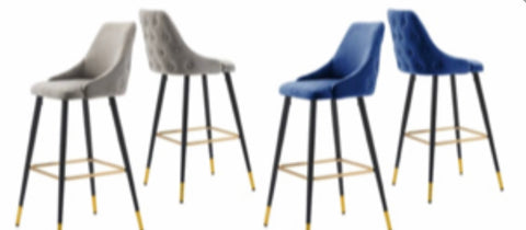 Fargo Bar Stools  velvet in navy or grey