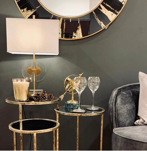 Venice Black and Gold Round Mirror