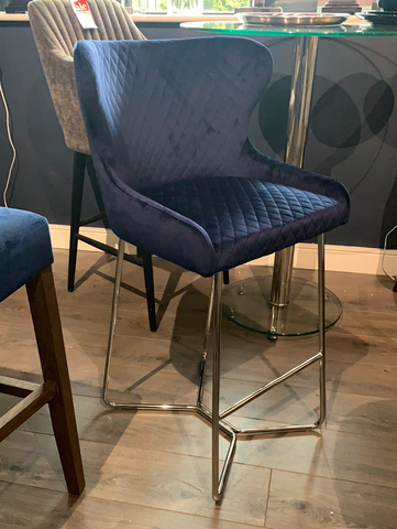 NEW Felix Bar Stool Navy with Chrome Leg