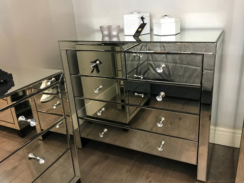 Rachel Venetian  mirrored chest of  5 drawers