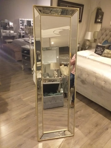 Large Beaded  trimmed mirror  168 x 53cm