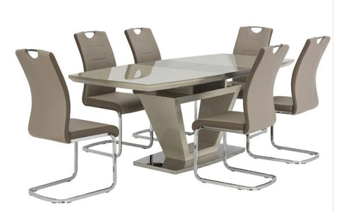 Aspen high  gloss Latte  dining table extending CLEARANCE