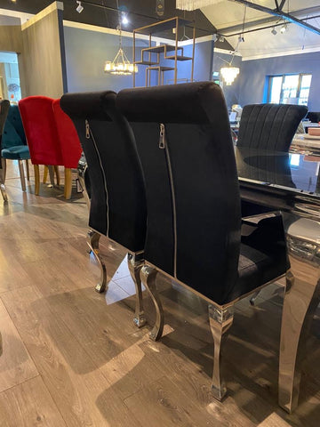 Black Velvet Dining Chairs With Decor Zip Feature Half Price Wow Interiors