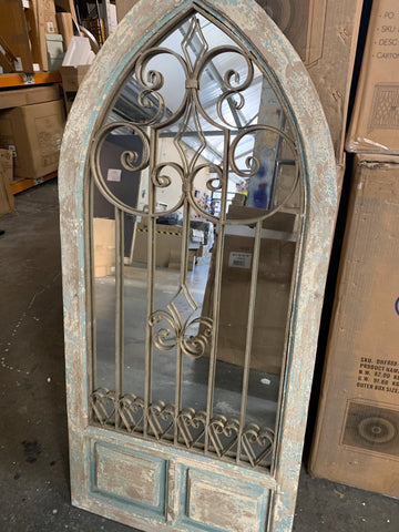 Antiqued arch Door rustic   mirror