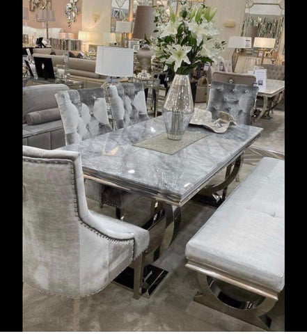 Antoinette  grey Marble Dining Table 1800 mm