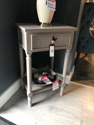 Deltoy Taupe 1 Drawer Side Table due back in 2021