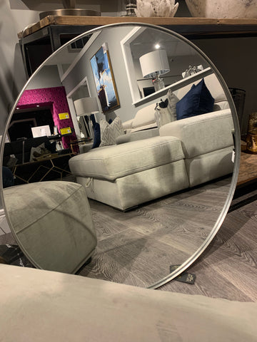 Bergen round contemporary mirror with silver metal frame surround . Terrific value