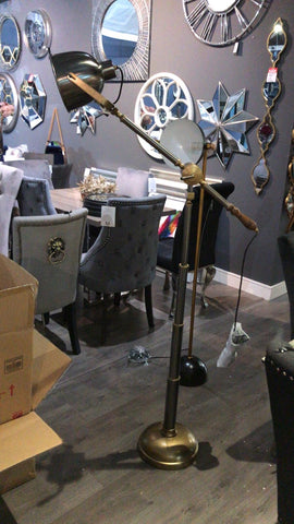 Strona Modern Floor Lamp  satin grey and brass