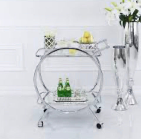 Harriet chrome  and mirrored Stylish Drinks Trolley AVAILABLE TO PRE ORDER NOW