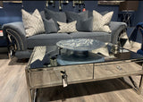 Pacific mirrored coffee table with 2 drawers SOLD AS SEEN