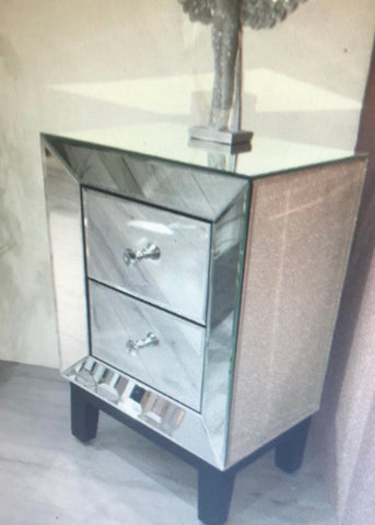 Neptune  mirrored 2 drawer bedside cabinet