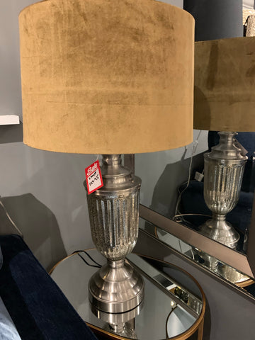 Urn glass table lamp with ochre  shade