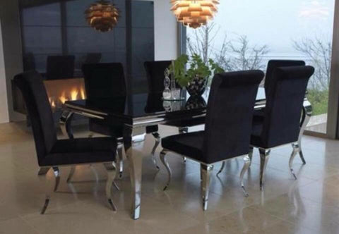 Louis dining chairs black  with polished legs special offer