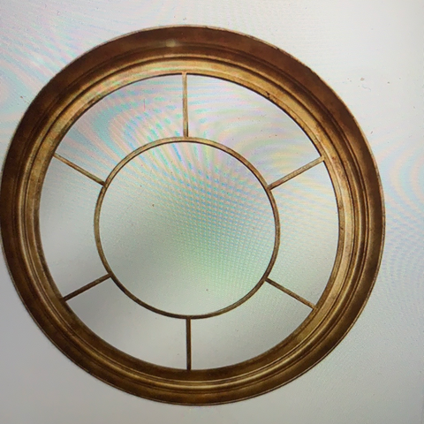 Gold round  metal window mirror