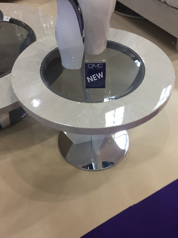 Evoke side table round grey and white
