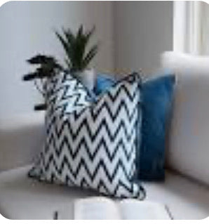 Navy  Cushion Chevron design