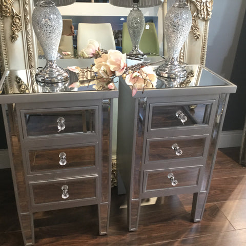 Maguire  mirrored 3 drawer bedside cabinet  This listing is for COLLECTION ONLY