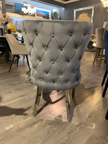 NEW Fabiana  charcoal grey velvet luxury chair with polished leg