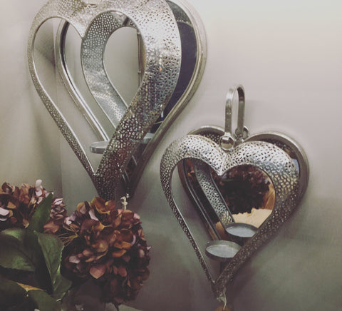 Silver Mirrored Heart Sconce Candle Holder large