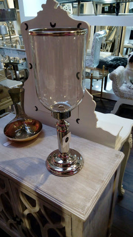 Rushford Hurricane Candle holders Glass and Nickel 56cm