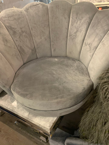 Shell chair in grey velvet LAST ONE available for 2020 . In stock