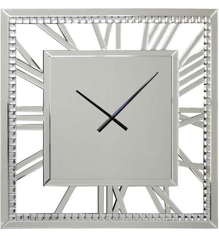 Large Mirror clock square with Roman numerals 80cm  crystal beads
