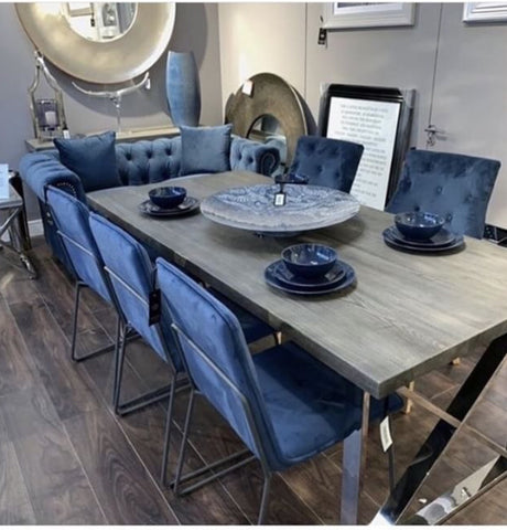 Tephra Driftwood Look Top And Chrome Dining Table Last Available Sets Wow Interiors