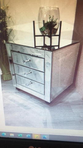 Natalie mirrored 3 drawer bedside cabinet