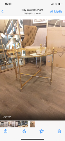 Gold Gilt Table with lift off tray reduced to clear Click N Drive thru