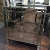 Venetian Mirrored  Extra Wide bedside locker 3 drawer