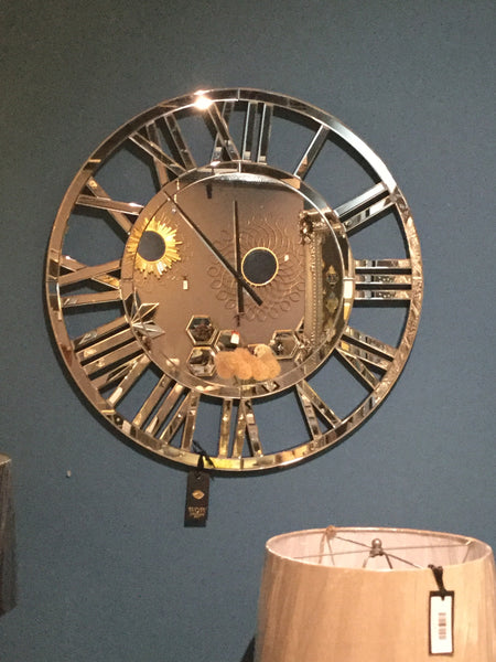 Large Mirror Clock Round With Roman Numerals 80 Cm Click N Collect Wow Interiors