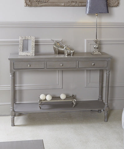 Taupe Deltoy  3 Drawer large Console Table pre order for June/july