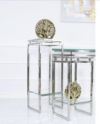 Meridian slim designer console table chrome and glass