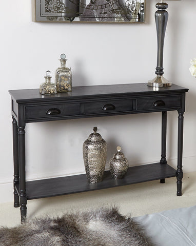 Deltoy   Grey 3 Drawer large Console Table special deal
