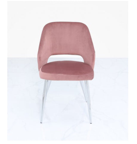 Velvet and chrome dining chair in 2 Colour choices