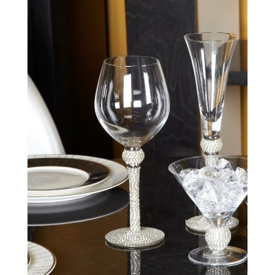 Milano Wine glass with full diamanté  stem