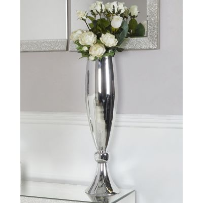 Medium  silver glass vase  70 cm
