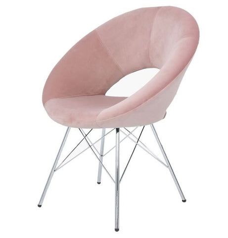 Orb Chrome and Pink Velvet Chair Set of 4
