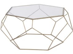 Platonic Hexagonal antique gold coffee table