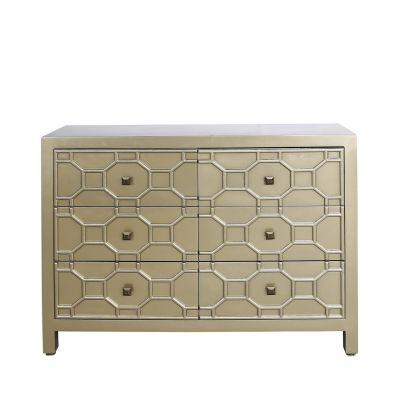 Geometric dressing chest  in gold    6 drawer.