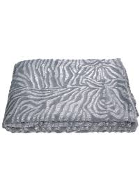 Value Faux Fur Grey And Silver Zebra Throw