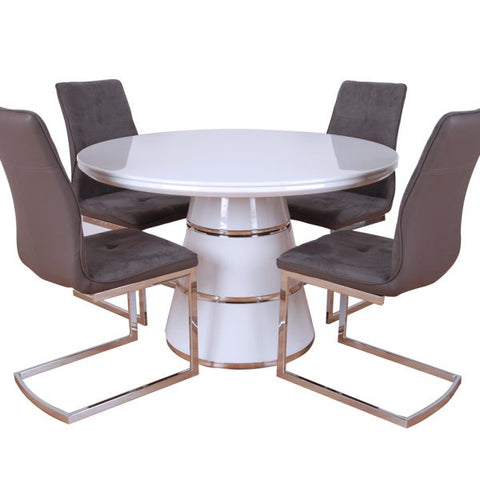 Zuri Round gloss dining table and chair set