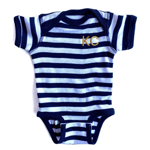 x INFANT  | KC STRIPES ONESIE - NAVY/WHITE